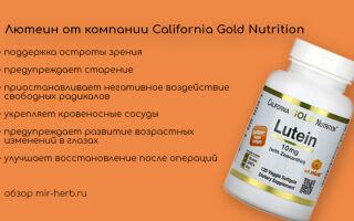 Подробный обзор добавок с лютеином от компании California Gold Nutrition