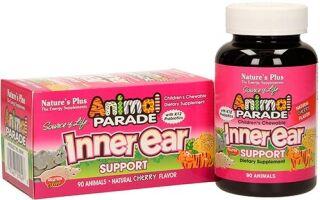 Полное описание детской добавки Inner Ear для поддержки здоровья ушей и горла серии Animal Parade от компании Nature's Plus. Инструкция по применению, дозировка, правила хранения