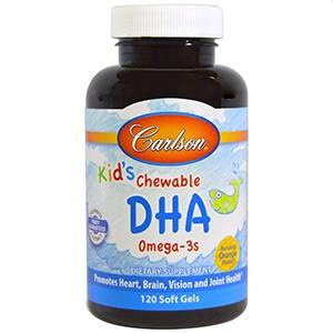 Carlson Labs, Kids Chewable DHA, Bursting Orange Flavor