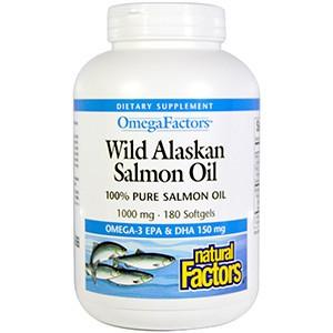 Natural Factors, Omega Factors, Масло лосося из Аляски, 1000 мг