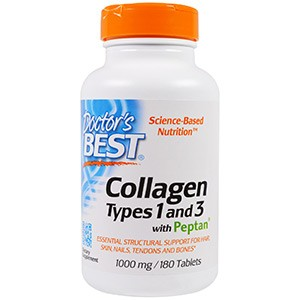 Doctor's Best, Лучший коллаген 1 и 3 типа, 1000 мг, 180 таблеток