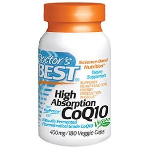 Doctor's Best, Коэнзим Q10 с высокой степенью поглощения и биоперин, 400 мг, 180 капсул
