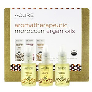 Acure Organics, Aroma therapeutic Moroccan Argan Oils Trio Set, Coconut, Rose, Citrus Ginger, (30 ml)