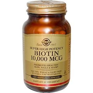 Solgar, Биотин (Biotin), высокоэффективный, 10 000 мкг, 120 растительных капсул