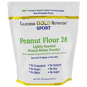 California Gold Nutrition, CGN, Порошок арахисовой пасты, 28% жира, без глютена