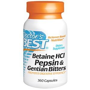 Doctor's Best, Горькая настойка из бетаина гидрохлорида, пепсина и генцианы