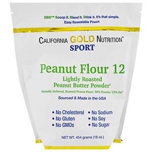 California Gold Nutrition, CGN, Порошок арахисовой пасты, 12% жира, без глютена