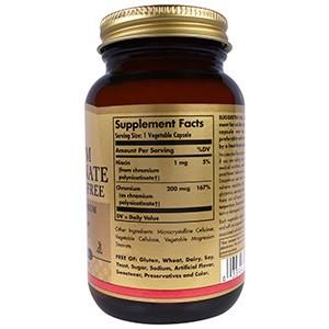 Solgar, Полиникотинат хрома, 200 мкг, 100 капсул