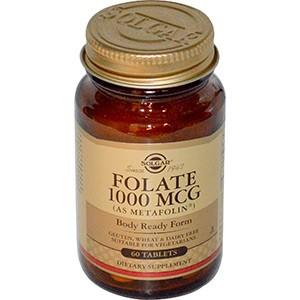 Solgar, Фолиевая кислота 1000 мкг, 60 таблеток