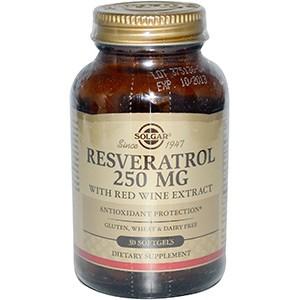 Solgar, Ресвератрол, 250 мг, 30 капсул