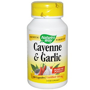 Nature's Way, Кайенский перец и чеснок, 530 мг, 100 капсул