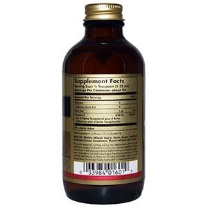 Solgar, Натуральный витамин E в жидкой форме, 118,4 мл