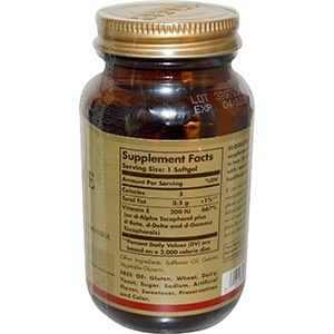Solgar, Vitamin E, Mixed Tocopherols, 200 IU, 100 Softgels