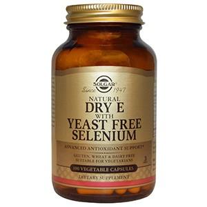 Solgar, Натуральный сухой витамин E с бездрожжевым селеном, 100 капсул
