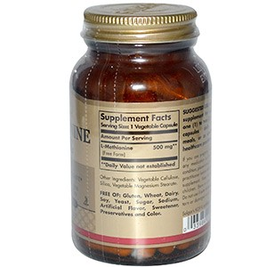Solgar, L-метионин, 500 мг, 90 капсул