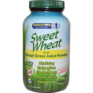 Sweet Wheat, Сырой порошкообразный концентрат сока ростков пшеницы, 180 капсул