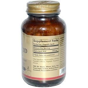 Solgar, Альфа-липоевая кислота, 120 мг, 60 растительных капсул
