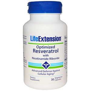 Life Extension, Оптимизированный ресвератрол с никотинамидрибозидом,30 капсул