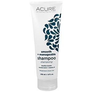 Acure Organics, Шампунь, разглаживающий и усмиряющий непослушные волосы, с бразильским кератином, кокосовой водой и маслом марулы