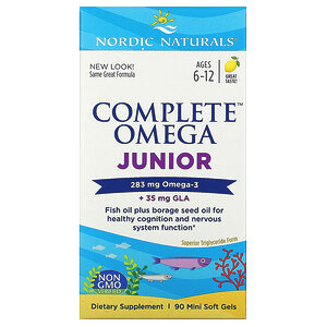 Nordic Naturals, Complete Omega, для детей от 6до 12лет, со вкусом лимона, 283мг, 90мини-капсул