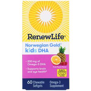Renew Life, Norwegian Gold, ДГК для детей, со вкусом фруктового пунша, 200 мг, 60 жевательных мягких капсул