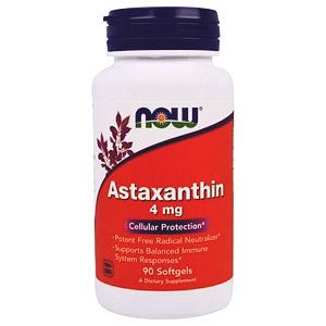 Now Foods, Астаксантин, 4 мг, 90 мягких желатиновых капсул