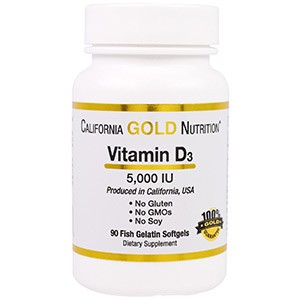 California Gold Nutrition, Витамин D3, 5000 IU