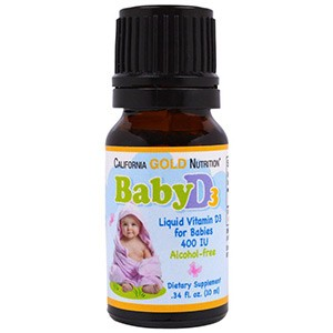 California Gold Nutrition, Витамин D3 в каплях для младенцев