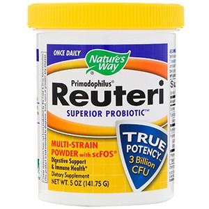 Nature's Way, Примадофилус, Супер пробиотик Реутери, порошок, содержащий несколько штаммов + scFOS
