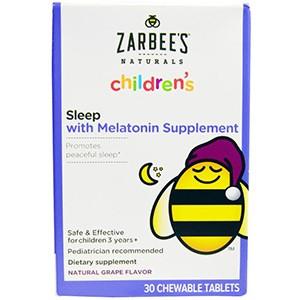 Zarbee's, Для детей, сон с добавкой мелатонина, натуральные виноград