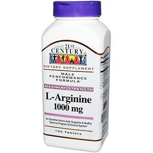 21st Century, L-аргинин, максимальная мощь, 1000 мг