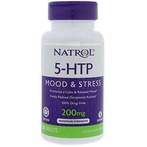 Natrol, 5-HTP, медленное высвобождение, максимальная сила