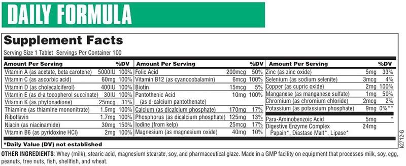 состав витаминно-минеральный комплекс daily formula