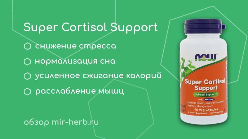 Полное описание комплекса Super Cortisol Support (Супер кортизол) от компании Now Foods. Изучаем компоненты и их влияние на организм. Инструкция по применению. Где купить дешевле всего?