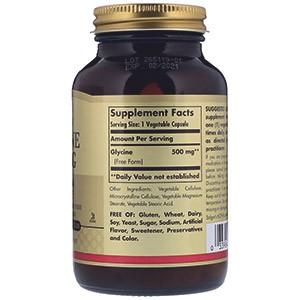Solgar, Глицин, 500 мг, 100 растительных капсул