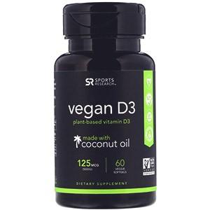 Подробное описание витамина D3 (холекальциферол) 5000 МЕ на основе кокосового масла от компании Sports Research: состав, инструкция по применению, выгодная покупка на iHerb
