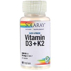 Витамин D3 + K2 от компании Solaray