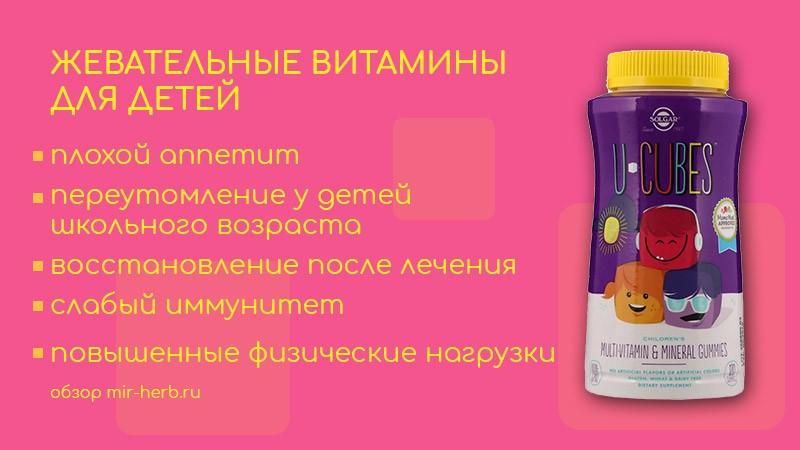 Подробное описание витаминного комплекса жевательных витаминов для детей U-Cubes от компании Solgar. Изучаем состав, инструкцию по применению и отзывы родителей