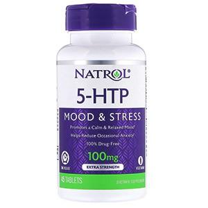 Natrol, 5-гидрокситриптофан, медленное высвобождение, с повышенной силой действия, 100 мг, 45 таблеток