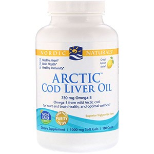 Nordic Naturals, Масло печени арктической трески, со вкусом лимона, 1000 мг, 180 желатиновых капсул