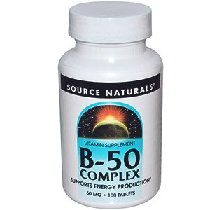 Source Naturals, Комплекс витаминов группы B-50, 50мг, 100таблеток