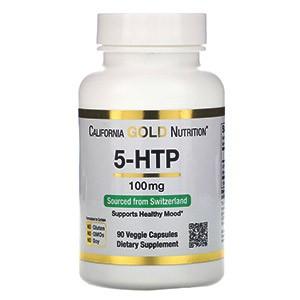 California Gold Nutrition, 5-гидрокситриптофан, поддержка хорошего самочувствия, экстракт семян гриффонии простолистной из Швейцарии, 100 мг, 90 растительных капсул