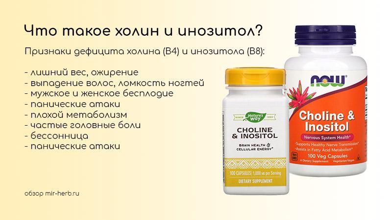 Что такое холин и инозитол? Какую пользу эти вещества приносят организму мужчин, женщин и детей, в каких случаях назначаются врачом?
