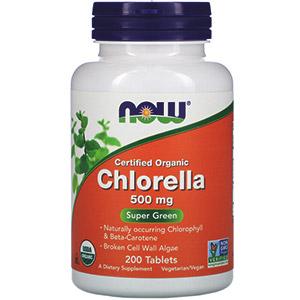 Now Foods, Сертифицированная органическая хлорелла, 500 mg, 200 таблеток