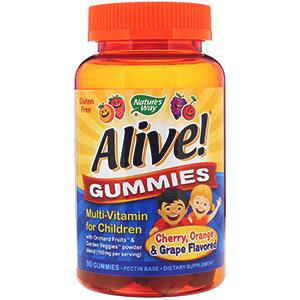 Nature's Way, Alive! жевательные конфеты, мультивитамин для детей со вкусом вишни, апельсина и винограда, 90 жевательных пастилок