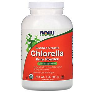 Now Foods, Сертифицированная органическая хлорелла, чистый порошок, 454 г