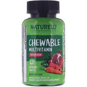 NATURELO, Жевательные мультивитамины для детей, 60 жевательных таблеток