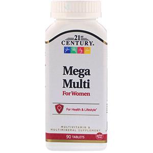 21st Century, Mega Multi, для женщин, мультивитамины и мультиминералы, 90 таблеток