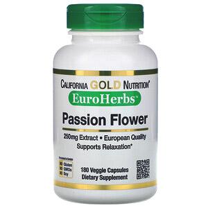 California Gold Nutrition, EuroHerbs, «Пассифлора», 250мг, 180растительных капсул
