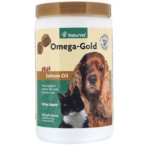 NaturVet, Omega-Gold с жиром лосося, добавка для собак и котов, улучшение состояния кожи и шерсти